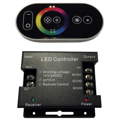 Controladora RGB para tiras LED DC 12-24V 6A*CH