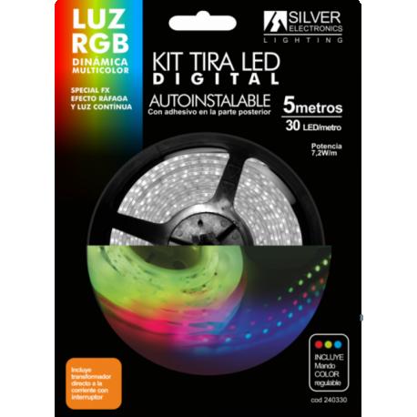 Kit de Tira LED digital de 5 metros 7,2w RGB Silver Sanz