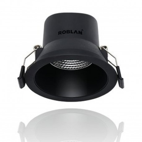 Foco Downlight LED Empotrable 6W Regulable Aro Negro Roblan