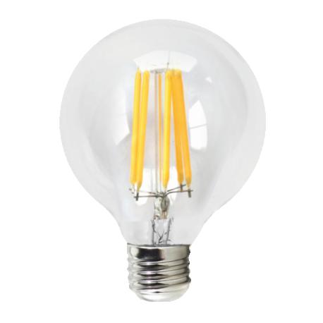Bombilla LED FILAMENTO Globo Transparente 6W E27 Silver Sanz