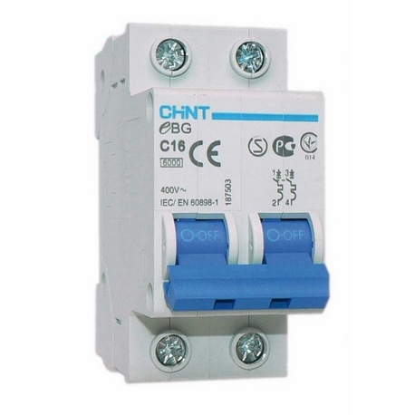 Interruptor automático 2P 10A-25A C 6kA 6 1